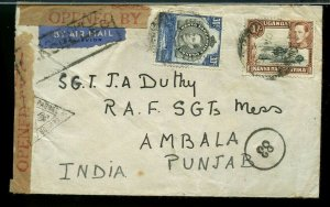 1/ 30cent Censored JUSQU'A marking KENYA to INDIA AIRMAIL cancelled 1941 cover
