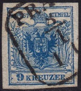 Austria - 1850 - Scott #5 - used - Coat of Arms - PRAG pmk Czech Republic