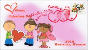 18-034, 2018, Valentines Day,  Pictorial Postmark, Event Cover, Hartville WY