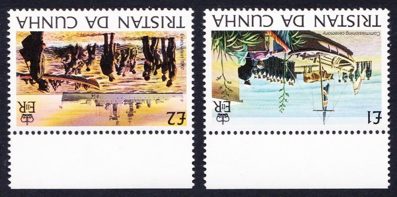 Tristan da Cunha ?1 and ?2 Watermark varieties with Top margins SG#359w+360w