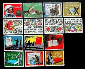 US Religious Cinderella Christmas Stamps American Bible Society 4 Diff. Years