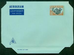 DENMARK 120ore, #36, aerogram (23) unused, VF,