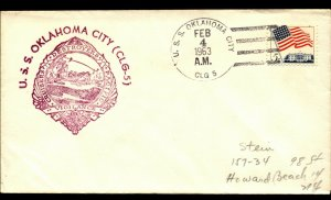 USS OKLAHOMA CITY CLG-5 1963 US Naval Cachet Cover with 5c Flag Stamp F