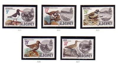 Alderney Sc 13-17 1984 Birds stamp set mint NH