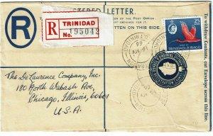 Trinidad & Tobago 1966 uprated registry envelope to the U.S.