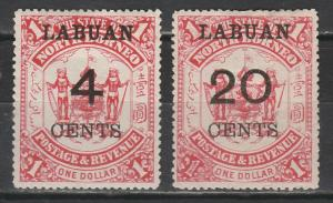 LABUAN 1895 ARMS SURCHARGE 4C AND 20C ON $1