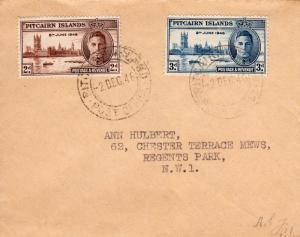 Pitcairn Islands 1946 Sc#9/10 KGVI Peace Set Letter to England Postal History