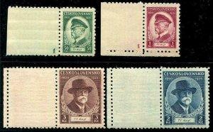 HERRICKSTAMP CZECHOSLOVAKIA Sc.# 202-05 1935 Left Tabs Per Scott
