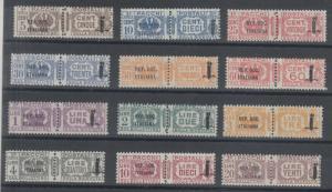 Italian Social Republic Sc Q1-Q12 MLH. 1944 Parcel Post, cplt set,