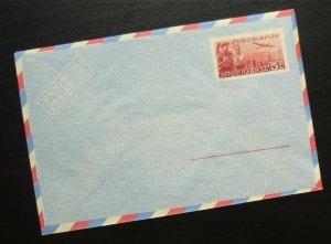 Yugoslavia c1950 Unused Airmail Postal Stationery Envelope - 5 Dinars R! A1