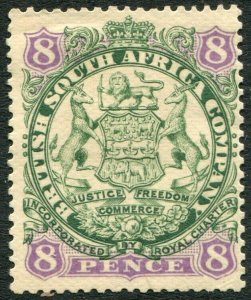 RHODESIA-1896-97 8d Green & Mauve/Buff Sg 34 MOUNTED MINT V48415