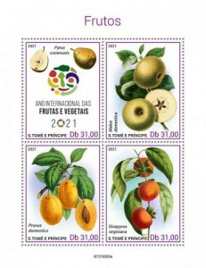 St Thomas - 2021 Intl Year of Fruits & Vegetables - 4 Stamp Sheet - ST210203a