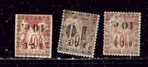 New Caledonia 11a-13a MH 1891-92 set with inverted overprints