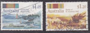 Australia # 1256-1257, Australian Battles of World War II, Used, 1/3 Cat.