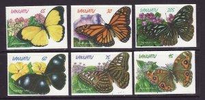 Vanuatu-Sc#721-6-unused set-Insects-Butterflies-Self-adhesives-1998-