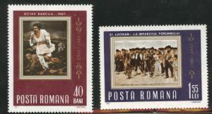 ROMANIA Scott 1923-4 MNH** Peasant Painting set  of 1967