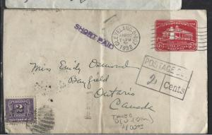 CANADA  (P1612B)  POSTAGE DUE 1932 INCOMING COVER FROM USA