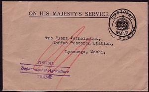 KENYA UGANDA TANGANYIKA 1938 cover ex Morogoro : Dept Ag frank.....33247