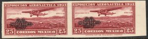 MEXICO C45a, 20¢ ON 25¢ AERONAUTIC EXHIB. IMPERFORATED PAIR, MINT, NH. VF