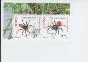 2012 Lithuania Red Book Spiders Pair (Scott 971) MNH