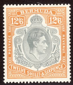 1938 - 1951 Bermuda KGVI King George VI 12/6 Perf 14 MLH Sc# 127a CV $110.0
