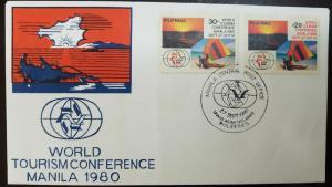 L) 1980 PHILIPPINES, WORLD TOURISM CONFERENCE MANILA, BEACH, NATURE, BOAT, FDC