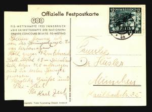Austria 1933 Skiing Event Card / Cut Corners / Light Crease - Z14920