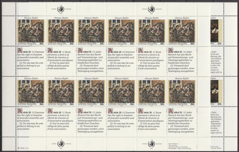 United Nations #616-7   MNH Panes Of 12 CV $14.00 (A4503L)