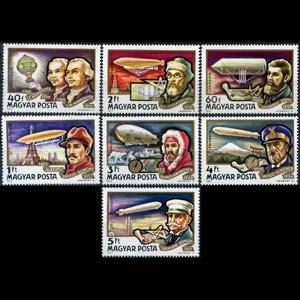 HUNGARY 1977 - Scott# C385-91 Airships History Set of 7 NH