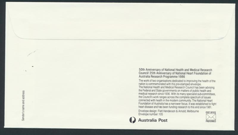 Australia PrePaid Envelope 1986 Health and  Medical Research Council