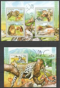 UG054 2012 UGANDA WILD CATS LIONS LEOPARDS ANIMALS FAUNA #2805-8+BL378 MNH