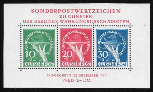 GERMANY - BERLIN Sc.# 9NB3A 1949 Souvenir Sheet NH