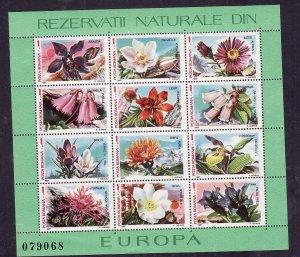 Romania-Sc#3465-unused NH sheet-Flowers-1987-