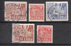 J25643 JLstamps 1946 sweden set used #369-73 lund cathedral