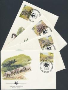 Sri Lanka stamp WWF Elephants set 4 FDC Cover 1986 Mi 753-756 WS161866