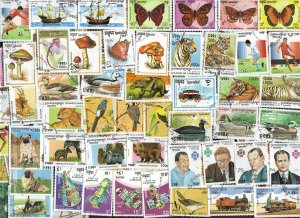 100 ALL DIFFERENT KAMPUCHEA (CAMBODIA)  STAMPS