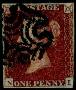 SG10, 1d deep red-brown PLATE 15, USED. Cat £80. BLACK MX. NI