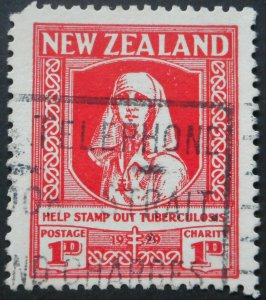 New Zealand 1929 Health One Penny SG 544 used