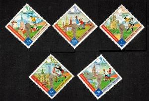 GUINEA ECUATORIAL 1974 SET OF 5 MNH DIAMOND SHAPED FOOTBALL WORLD CUP