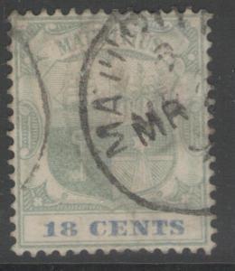 MAURITIUS SG132 1897 18c GREEN & ULTRAMARINE USED
