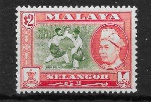 MALAYA SELANGOR SG126a 1960 $2 BRONZE-GREEN & SCARLET p13x12½ MNH