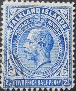 Falkland Islands 1914 GV 2½d line perf SG 63a used