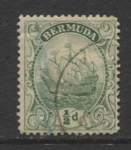 Bermuda - Scott 41 - Caravel - 1910 - FU- Single 1/2d Stamp