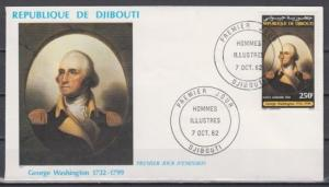 Djibouti, Scott cat. C171. President G. Washington issue on a First day cover.