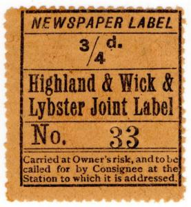 (I.B) Highland & Wick & Lybster Joint Railway : Newspaper Parcel ¾d
