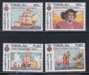 Tokelau # 182-185, Discovery of America 500th Anniversary, NH, 1/2 Cat.