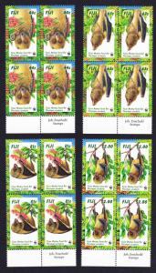 Fiji WWF Fijian Monkey-faced Bat 4 Blocks of 4 Bottom margins SG#986-989