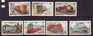 Cambodia-Sc#504-10-unused NH set-Trains-Locomotives-1984-#506 has a slight gum b