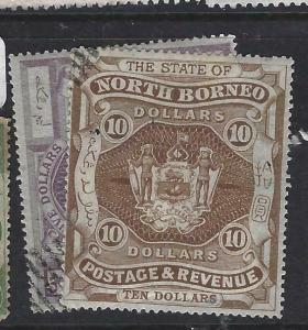 NORTH BORNEO   (P2704B)  $5.00, $10.00    ARMS, LION  SG 85-6   CTO