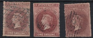 SA246) South Australia 1860-69 Second roulette issue 1/- Brown three distinct